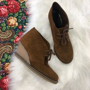 J. Crew leather suede tan brown Wedges